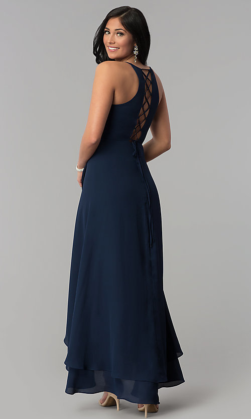 Image of corset-tie faux-wrap long navy blue prom dress. Style: MT-8455 Back Image