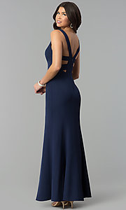Image of navy blue v-neck long caged-back prom dress. Style: MT-8985 Back Image