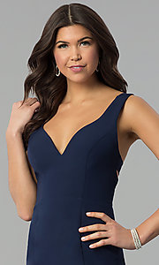 Image of navy blue v-neck long caged-back prom dress. Style: MT-8985 Detail Image 1