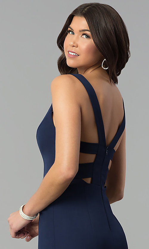 Image of navy blue v-neck long caged-back prom dress. Style: MT-8985 Detail Image 2