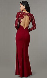 Image of long-sleeve open-back navy blue long prom dress. Style: MT-9147 Detail Image 4