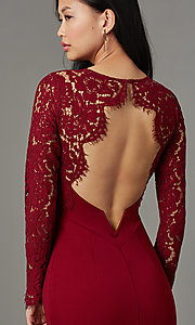 Image of long-sleeve open-back navy blue long prom dress. Style: MT-9147 Detail Image 5