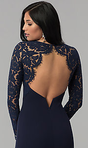 Image of long-sleeve open-back navy blue long prom dress. Style: MT-9147 Detail Image 2
