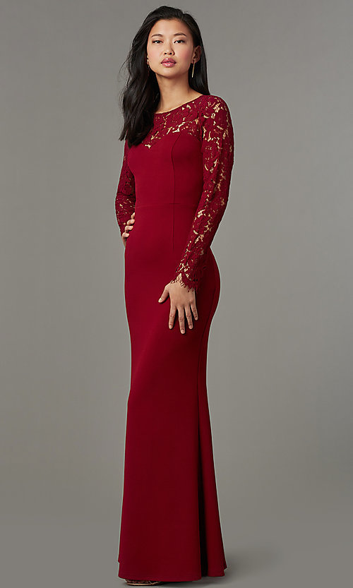 Image of long-sleeve open-back navy blue long prom dress. Style: MT-9147 Detail Image 3