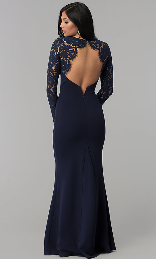Image of long-sleeve open-back navy blue long prom dress. Style: MT-9147 Front Image