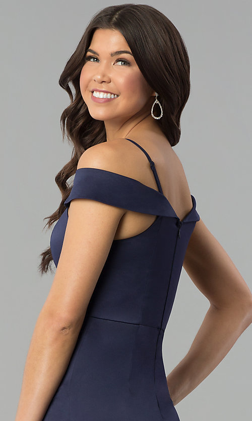 Image of off-the-shoulder long satin prom dress with slit. Style: MT-8961 Detail Image 2