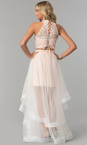 Image of lace-top two-piece long prom dress in blush pink. Style: FLA-50271 Back Image