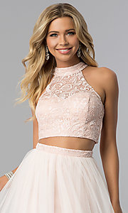 Image of lace-top two-piece long prom dress in blush pink. Style: FLA-50271 Detail Image 1
