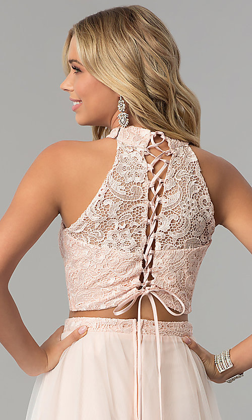 Image of lace-top two-piece long prom dress in blush pink. Style: FLA-50271 Detail Image 2