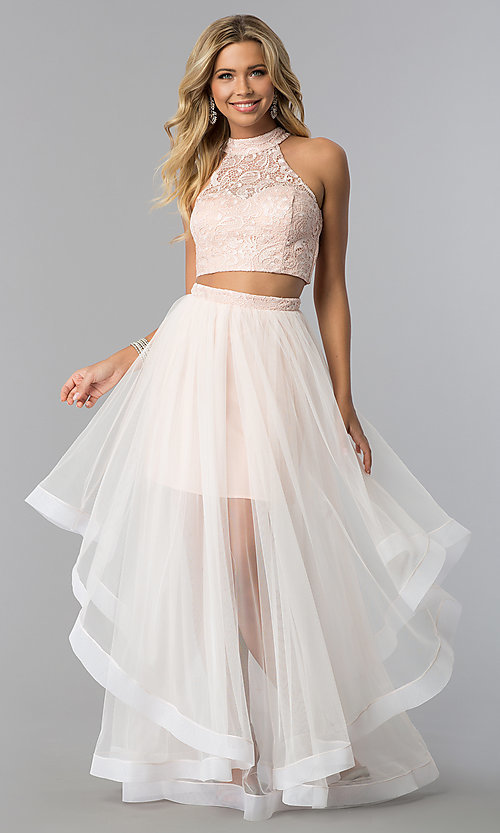 Image of lace-top two-piece long prom dress in blush pink. Style: FLA-50271 Front Image