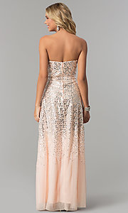 Image of strapless long sequin prom dress in blush pink. Style: FLA-167355 Back Image
