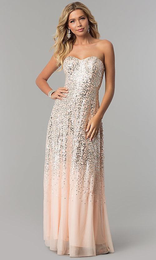 Image of strapless long sequin prom dress in blush pink. Style: FLA-167355 Front Image
