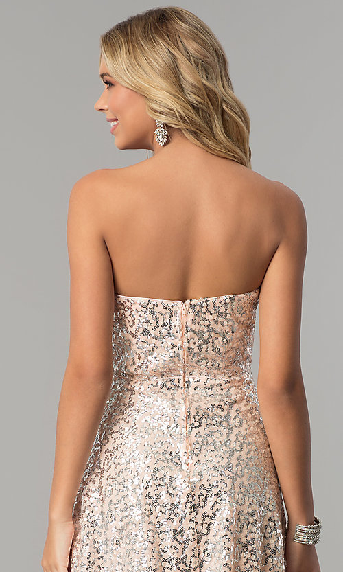 Image of strapless long sequin prom dress in blush pink. Style: FLA-167355 Detail Image 2