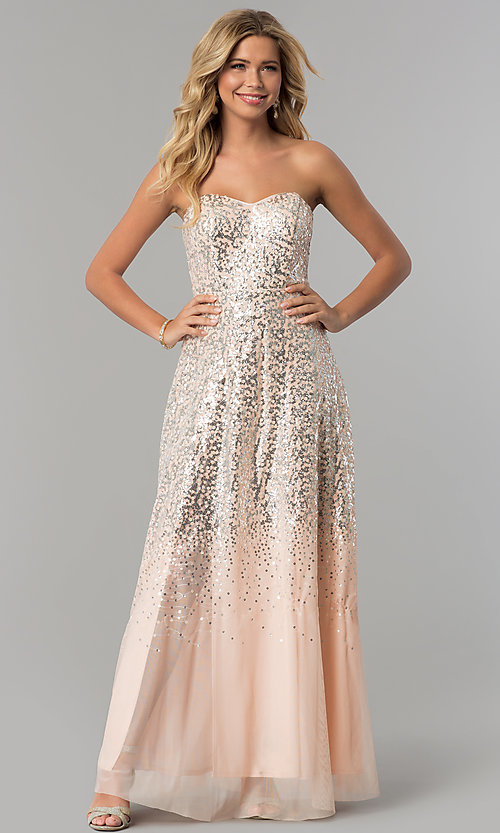 Image of strapless long sequin prom dress in blush pink. Style: FLA-167355 Detail Image 3
