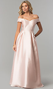 Image of off-the-shoulder long satin prom dress in blush pink. Style: FLA-139395 Front Image