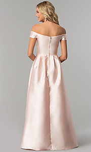 Image of off-the-shoulder long satin prom dress in blush pink. Style: FLA-139395 Back Image