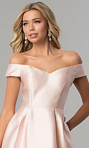 Image of off-the-shoulder long satin prom dress in blush pink. Style: FLA-139395 Detail Image 1