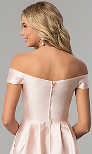 Image of off-the-shoulder long satin prom dress in blush pink. Style: FLA-139395 Detail Image 2