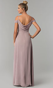 Image of cowl-open-back off-the-shoulder long prom dress. Style: FB-GL1522 Back Image