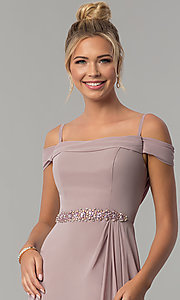 Image of cowl-open-back off-the-shoulder long prom dress. Style: FB-GL1522 Detail Image 1