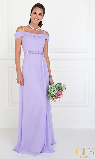 Cowl-Open-Back Off-the-Shoulder Long Prom Dress
