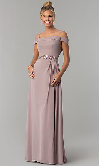 cbb836b85e4 Cowl-Open-Back Off-the-Shoulder Long Prom Dress. Share