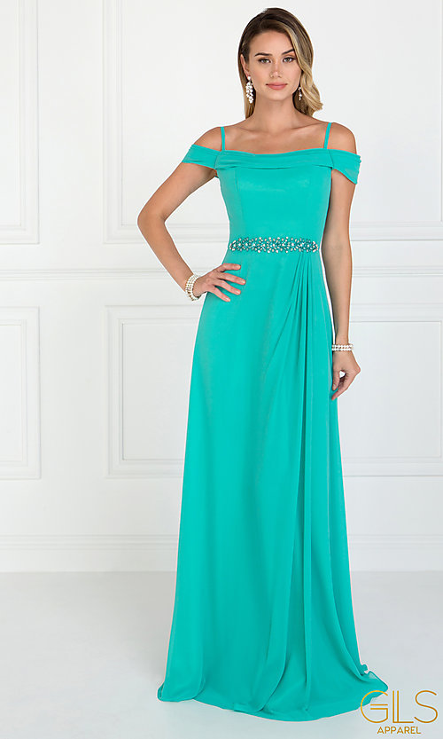Image of cowl-open-back off-the-shoulder long prom dress. Style: FB-GL1522 Detail Image 3