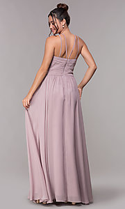 Image of ruched-waist long chiffon formal military ball dress. Style: FB-GL1524 Detail Image 4