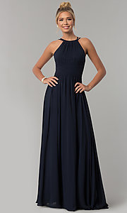 Image of ruched-waist long chiffon formal military ball dress. Style: FB-GL1524 Detail Image 2