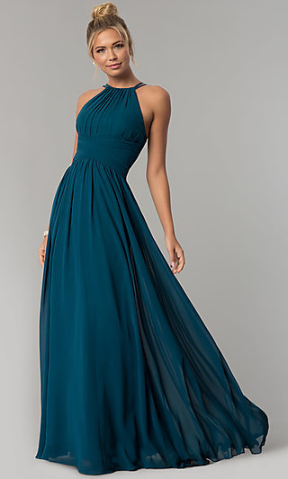 Ruched-Waist Long Chiffon Formal Military Ball Dress