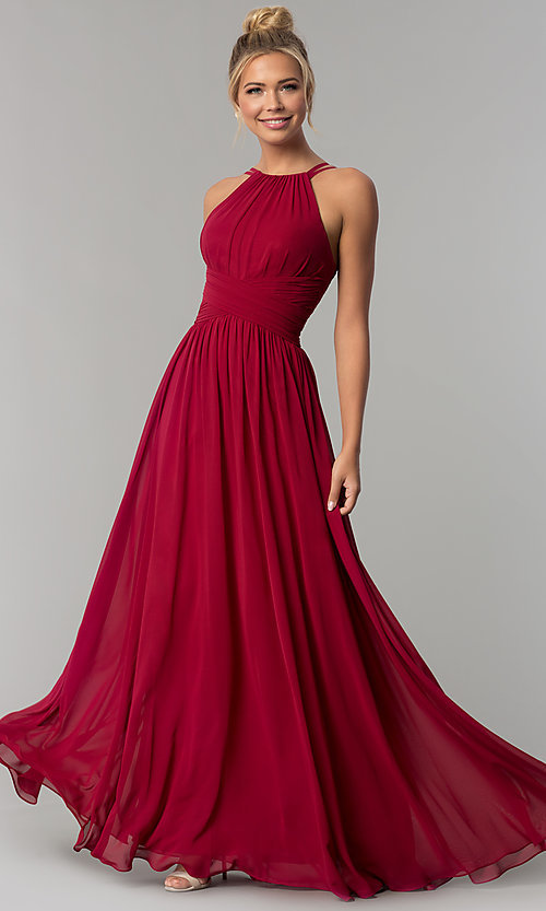 Image of ruched-waist long chiffon formal military ball dress. Style: FB-GL1524 Detail Image 1