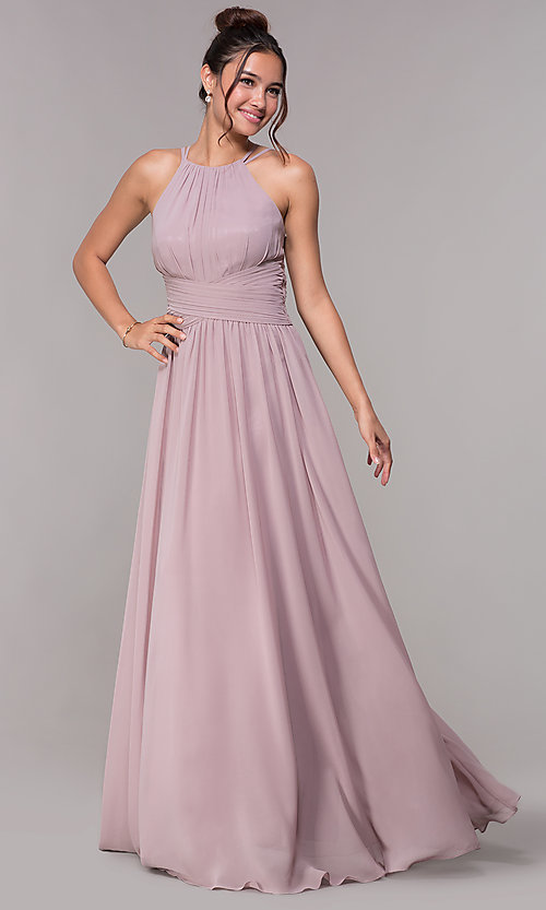 Image of ruched-waist long chiffon formal military ball dress. Style: FB-GL1524 Detail Image 3