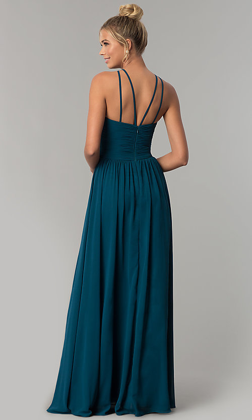 Image of ruched-waist long chiffon formal military ball dress. Style: FB-GL1524 Back Image