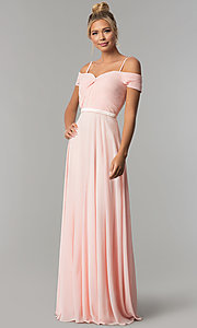Image of satin-waist off-the-shoulder long chiffon prom dress. Style: FB-GL1523 Front Image