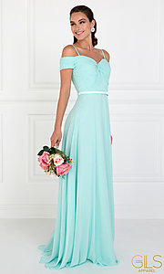 Image of satin-waist off-the-shoulder long chiffon prom dress. Style: FB-GL1523 Detail Image 3