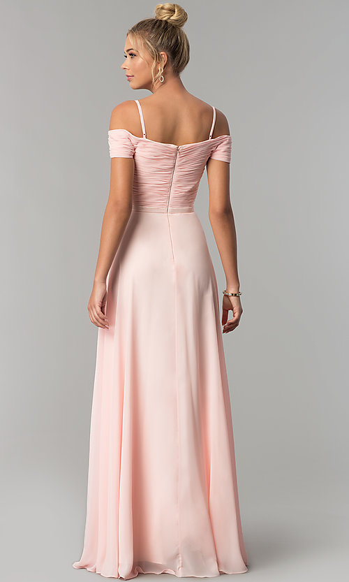 Image of satin-waist off-the-shoulder long chiffon prom dress. Style: FB-GL1523 Back Image