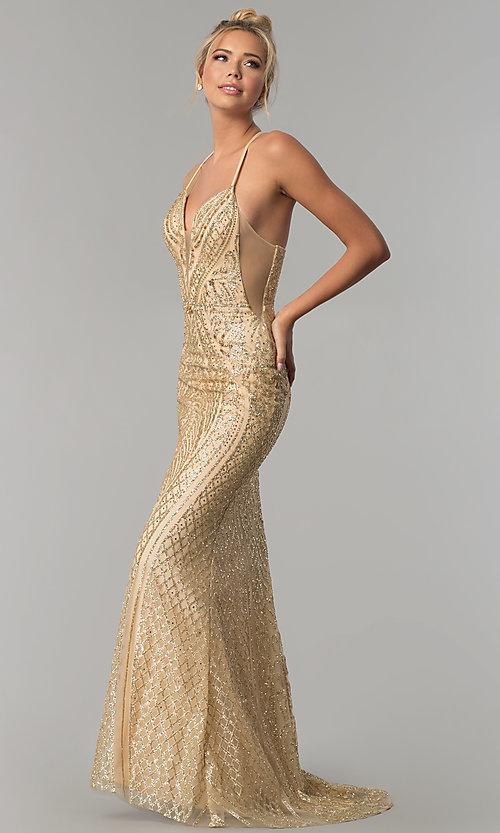 Glitter-Print Open-Back Long Prom Dress with Corset