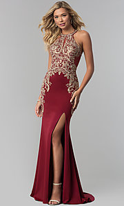 Image of Elizabeth K long prom dress with embroidered lace. Style: FB-GL1519 Detail Image 2