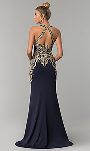Image of Elizabeth K long prom dress with embroidered lace. Style: FB-GL1519 Back Image
