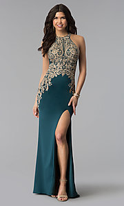 Image of Elizabeth K long prom dress with embroidered lace. Style: FB-GL1519 Detail Image 1