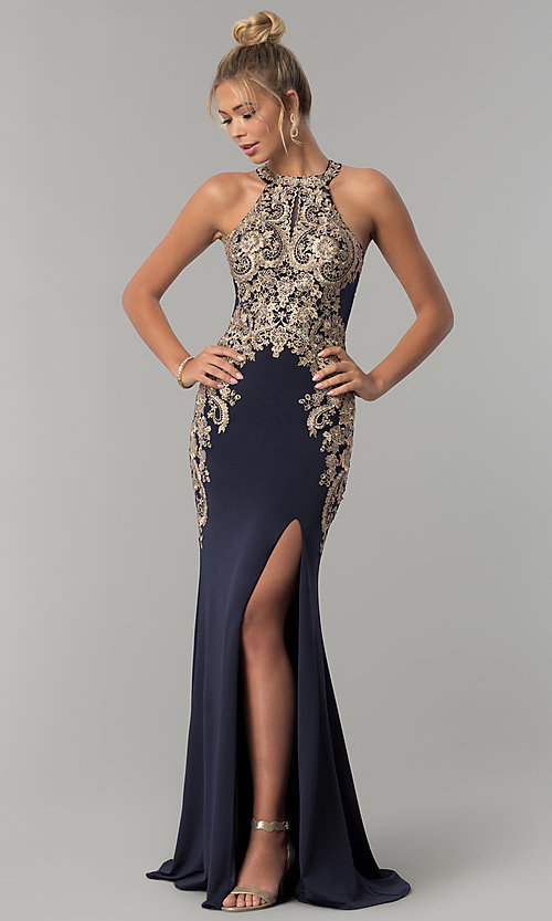 Image of Elizabeth K long prom dress with embroidered lace. Style: FB-GL1519 Front Image
