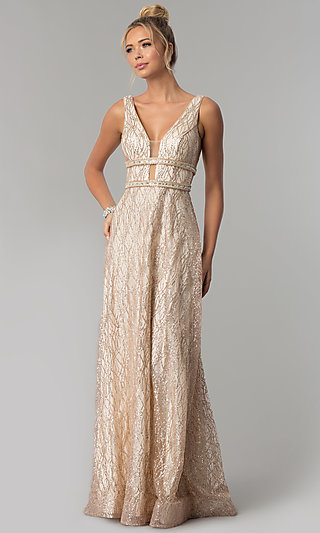 Long V-Neck Glitter Prom Dress with Sheer Sides