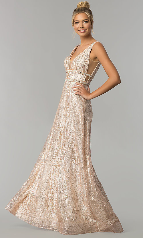 Image of long v-neck glitter prom dress with sheer sides. Style: FB-GL1575 Detail Image 1