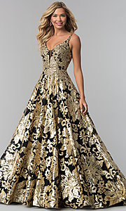Image of long v-neck sequin ball gown for prom. Style: FB-GL1511 Front Image