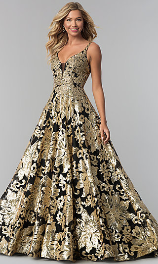 Long V-Neck Sequin Ball Gown for Prom