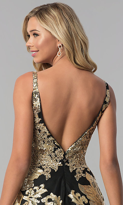 Image of long v-neck sequin ball gown for prom. Style: FB-GL1511 Detail Image 2