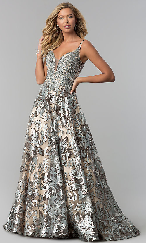Image of long v-neck sequin ball gown for prom. Style: FB-GL1511 Detail Image 3