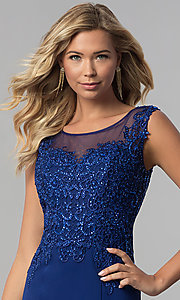 Image of royal blue long formal prom dress with embroidery. Style: FB-GL1411 Detail Image 1