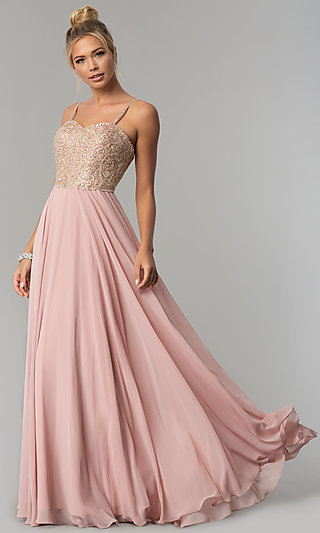 Corset-Back Chiffon Elizabeth K Formal Prom Dress
