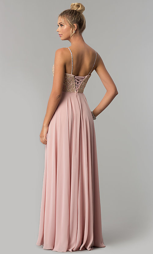 Image of corset-back chiffon Elizabeth K formal prom dress. Style: FB-GL1571 Back Image
